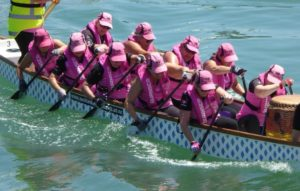 pink dragons hit the water